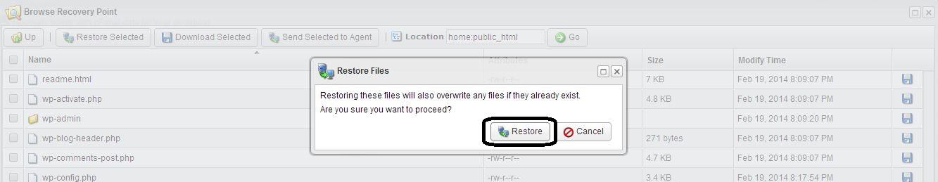 Restore Confirmation
