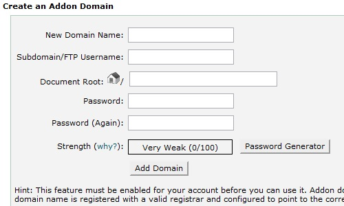 Addon Domains information