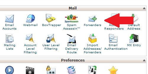 Click on Forwarders Icon