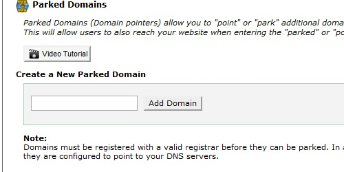 Create a New Parked Domain