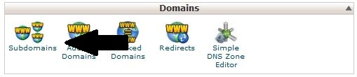 Click on Subdomains Icon